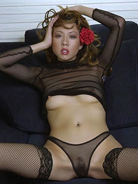 Sexy asian in fishnet stockings dress off her lingerie
