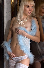 Adorable blonde teen on women in stockings gallery